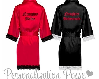 Bridesmaid Robe, Bridal Robe, Lace Robe, Custom Embroidered Lace Trim Robe, Personalized Robe, Lace Kimono Robes, Bridesmaid Gifts, Bathrobe