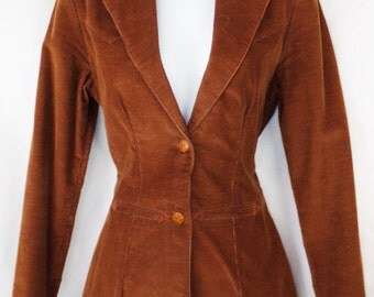 "Vintage Wrangler Corduroy Womens Blazer Brown Size 13 Bust 18"""