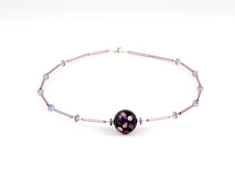 Purple Necklace with Big Glass Round Bead on Jewelry Wire