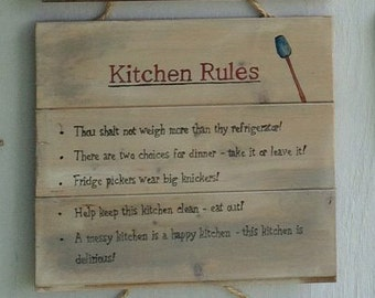 Kitchen Rules Shabby Chic / Rustic sign