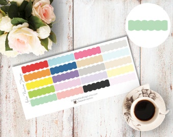 Planner Stickers for the vertical Erin Condren Life Planner - Scalloped Border Labels in multicolor