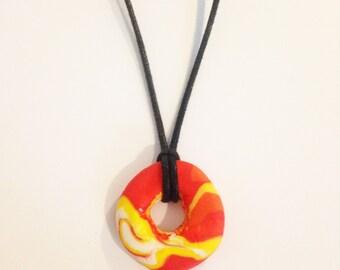 Orange marble clay necklace