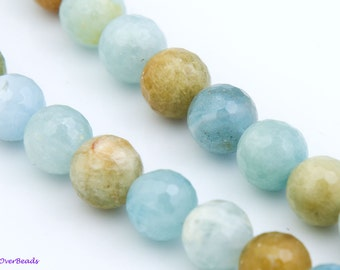 "Natural AMAZONITE 4mm to 14mm Round Faceted Beads, 16"" Full Strand, Gemstone Beads, Green, Yellow, Blue, Gray, Amazonite Gemstone Beads"
