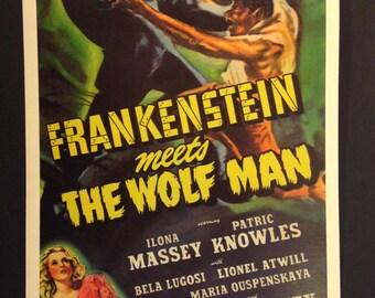 """Frankenstein Meets The Wolf Man 12""""x18"""" Movie Poster // Horror // Monster Movie // 1943"""