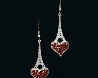 Eiffel Tower Heart Earrings
