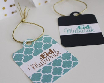 Minty Blue Eid Gift Tags - Printable