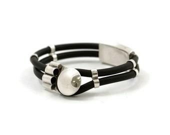 black Bracelet, Silver Elements, rubber Bracelet, Sterling Silver Bracelet, 925 silver Bracelet, silver jewelry, rubber, black Bracelet