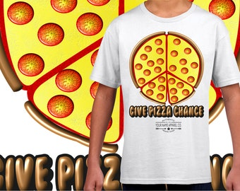Give Pizza (peace) Chance Personalised Kids T-shirt