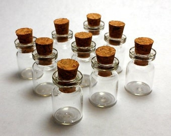 10 Small Clear Glass Corked Bottles 0.5ml Message Jewelry 3/4 Inch
