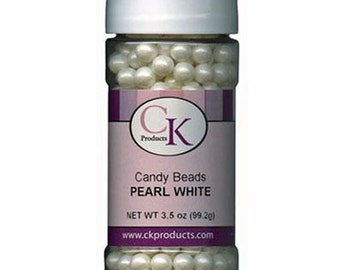 CK Products White Candy Edible Pearl Beads 3.5oz 7mm