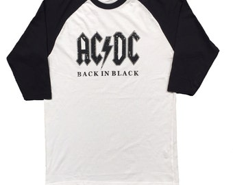 A Tribute To ACDC Back In Black Men's Baseball 3/4 Sleeve Tee New