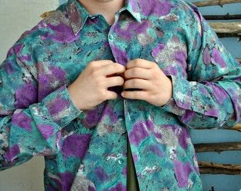 Vintage shirt 70s mens colour 1980s 1990s disco