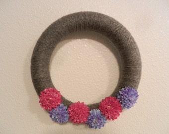 Gray Yarn Wreath with Pink & Purple Flowers
