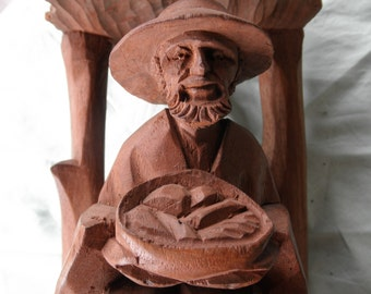Vintage Wooden Hand Carved Man In A Hut Folk Art Collectible