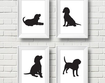 Minimalist Black Beagle Silhouette 4 Wall Art. Modern Dog Print Frame Work. Dog Silhouettes. Set of 4. Size 5x7