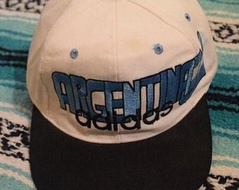 Vintage 80s 90s Argentina Soccer Adidas Snap Back Hat