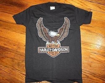 Vintage 70s Harley Davidson Motorcycle Shirt Dead stock YOUTH Medium, XXS 1970s