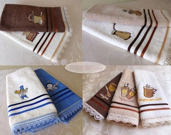 Turkish towels gift set basket lace embroidery 100 cotton