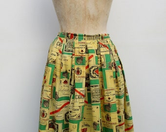 50s Cotton A-Line Skirt