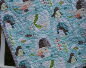 Baby boy crib quilt, nursery bedding, toddler  blanket, polar bears, arctic animals, animal nursery quilt, animal crib bedding