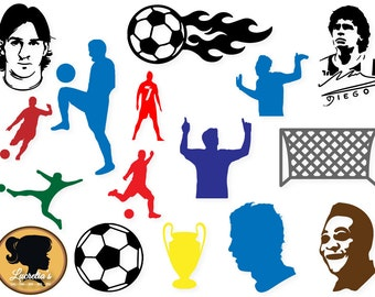 Soccer SVG,  Soccer dxf, Soccer clipart, Messi silhouette, Maradona  vector, svg files for silhouette cameo or cricut