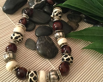 Statement Necklace, African Inspired, Kakui, Bone and Silver