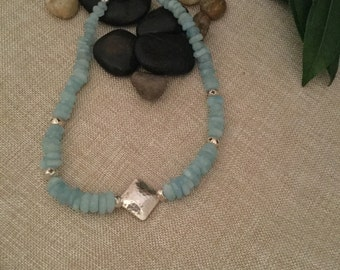 Aquamarine and Sterling Silver Gemstone Necklace