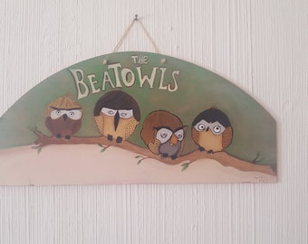 beatles(beatowls) hand made painting
