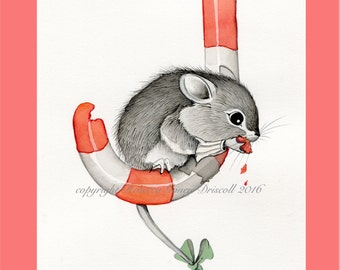 Christmas mouse greeting card 5 x 7 print of watercolor print 5 card pack