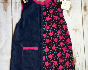 2 in 1, Reversible Dress, Toddler Reversible Outfit, Toddler Reversible Dress, Barbie Dress, Summer Dress, Denim Dress