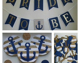 Nautical Bridal Shower Package / Nautical Bachelorette Decor Package / Anchor Party Decor / Bridal Decor / Navy and Gold Nautical Decor