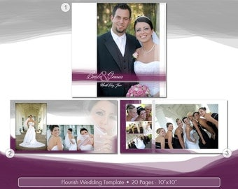 Flourish Wedding Album Design PSD Template for Coffee Table Book - 20 pages