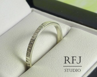 2 mm Textured Thin Silver Band, Polished Stackable Ring, Tiny Textured Band, Hand Textured Ring, Stackable Polished Ring,  Hand Hammered