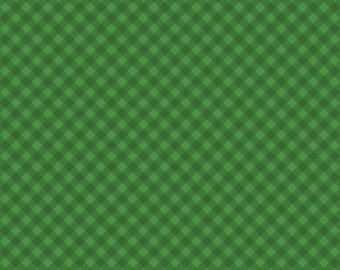 """Gingham Fabric, Christmas Fabric : Santa's Stash Green Gingham by Patrick Lose 100% cotton fabric by the yard 36""""x44"""" (N452)"""