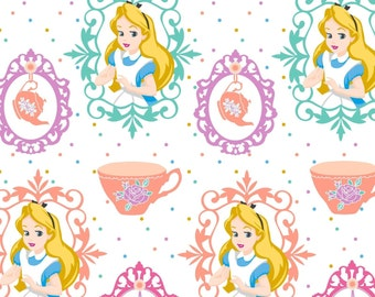 "In STock: Disney Fabric - Disney Alice in wonderland Fabric Alice and the Teacup 100% cotton fabric by yard 36""x43"" (SC216)"