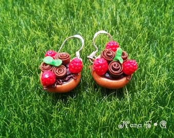 Raspberry-Chocolate Tart Earrings, Food Earrings, Food Jewelry, Miniature Food, Cray Earrings