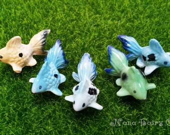 Fancy Goldfish,figurines ceramic Miniature, Fairy Garden 5 Pcs/Set(Random color)