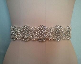 Wedding Belt, Bridal Sash Belt - Crystal Pearl Wedding Sash Belt
