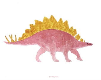 Dinosaur (pink and yellow), A4 print