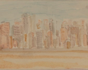 Watercolor abstract cityscape tiny painting
