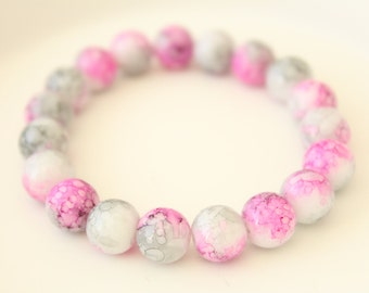 Glass Beads Bracelet - Pink Glass Bead Bracelet - Boho Bracelet - Grey Glass Bracelet - Gift for Mom - Gift for Teen - Gift for Sister