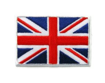 British Union Jack UK England United Kingdom Flag  Embroidered Applique Iron on Patch 7 cm. x 4.7 cm.