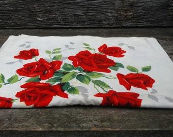Vintage Red Rose Tablecloth