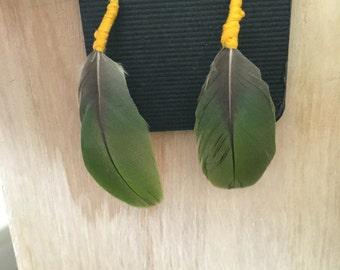 Handmade Geniune Parrot Feather Earrings