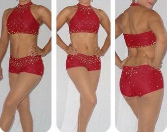 Red 2 pieces pole dance circus performing costume