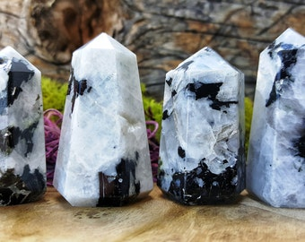 Rainbow Moonstone Crystal Healing Point / Grid Energy Stones  -  089