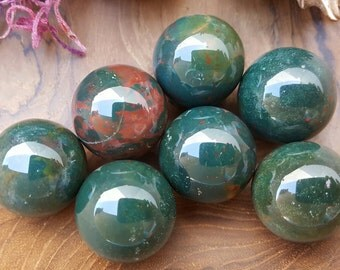 Bloodstone Crystal Sphere - Hand Carved Gem Stone Ball for Crystal Grids or Terrarium 056