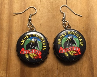 Smoky Mountain Brewery Bottle Cap Earrings