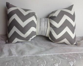 Decorative pillow. Lumbar pillow, Beige and Gray Chevron pillow, Bow Pillow. Buy one get one half price.