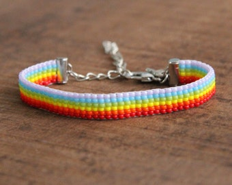 Bracelet woven rainbow red orange yellow green blue purple